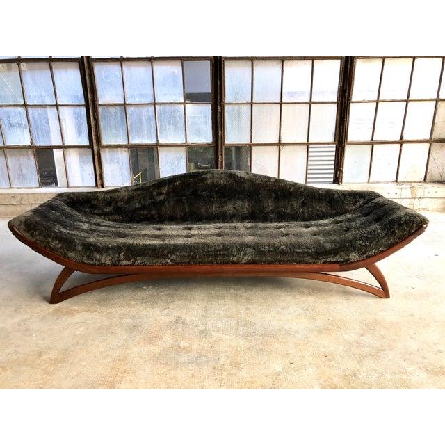 Mid Century Modern Designer Pearsall Style Gondola Sofa Fuzzy Black Velvet For Sale - Image 10 of 10