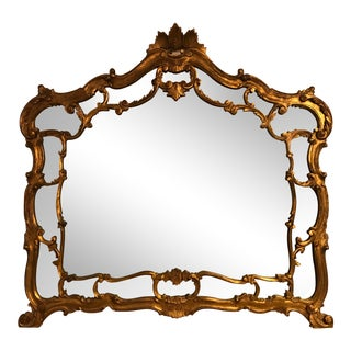 Antique Hand-Carved Gold-Guild Mirror For Sale