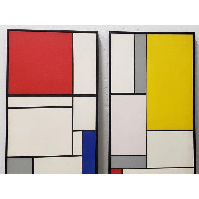 1950s Mid-Century Geometric Abstract Paintings C.1950s - a Pair For Sale - Image 5 of 10