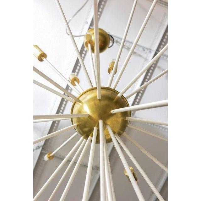 Contemporary Mid Century Modern Extra Large Enamel/Brass Sputnik 33 Lights Chandelier For Sale - Image 3 of 7