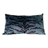 Image of Scalamandre Blue Le Tigre Pillow For Sale