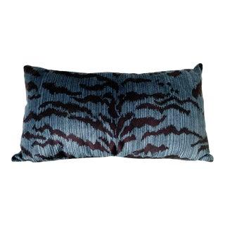 Scalamandre Blue Le Tigre Pillow For Sale