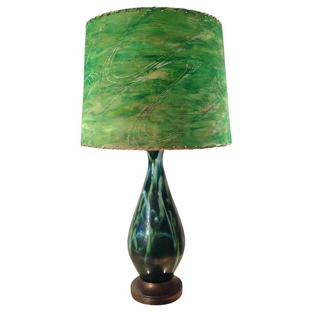 Mid-Century Green Ceramic Lamp & Handpainted Shade - Image 1 of 9