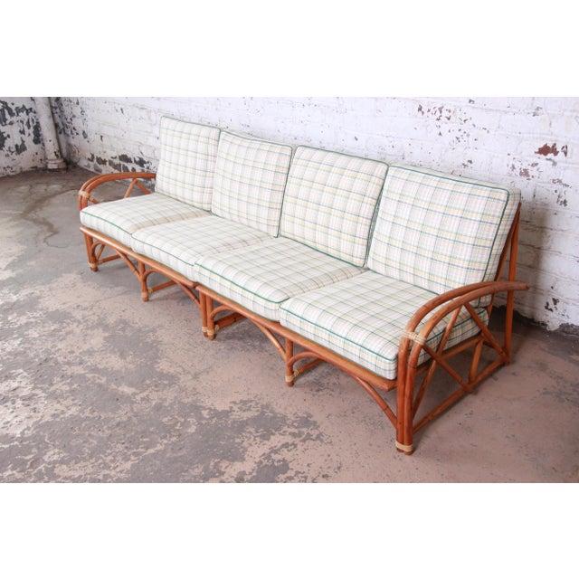 1960s Heywood Wakefield Hollywood Regency Mid-Century Modern Rattan Sofa For Sale - Image 5 of 13