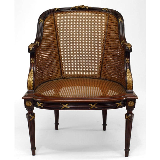 French Louis XVI Style Ormolu-Mounted Mahogany Caned Bergere For Sale - Image 4 of 4