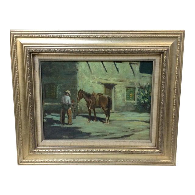 """Cowboy Bringing Flowers"" Vintage Oil Painting For Sale"