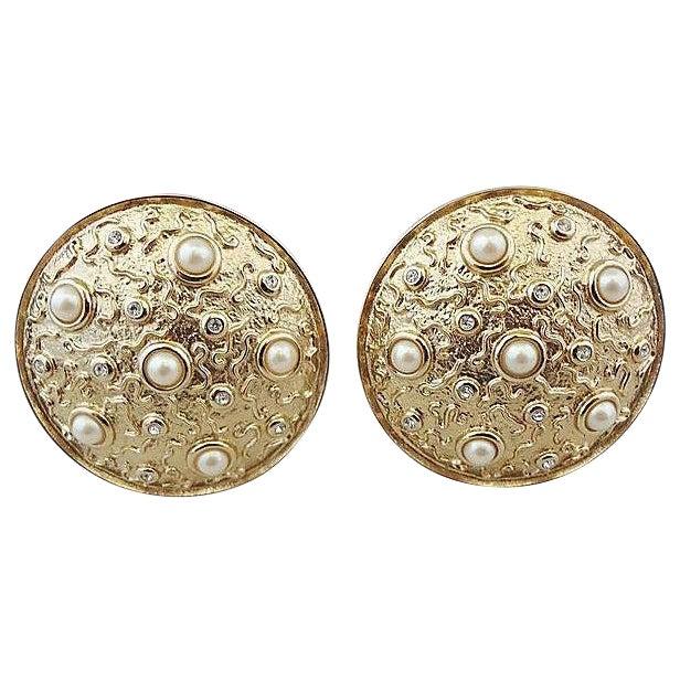 1980s Guy Laroche Faux-Pearl Earrings For Sale