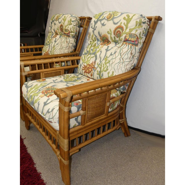 Coastal Creations Rattan Armchairs With High-End Embroidered Crewel Cushions- a Pair For Sale In Miami - Image 6 of 11