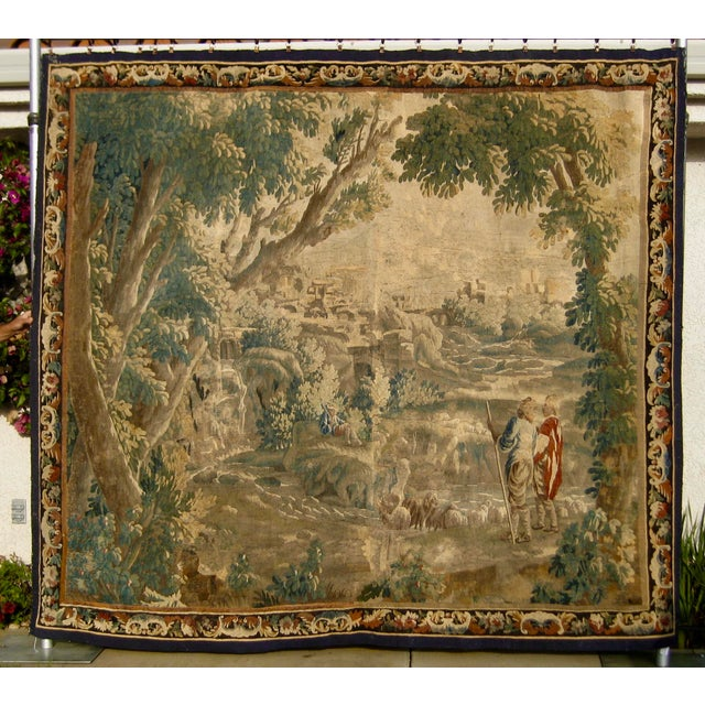 1700s French Aubusson Verdure Tapestry Wall Hanging For Sale - Image 11 of 11