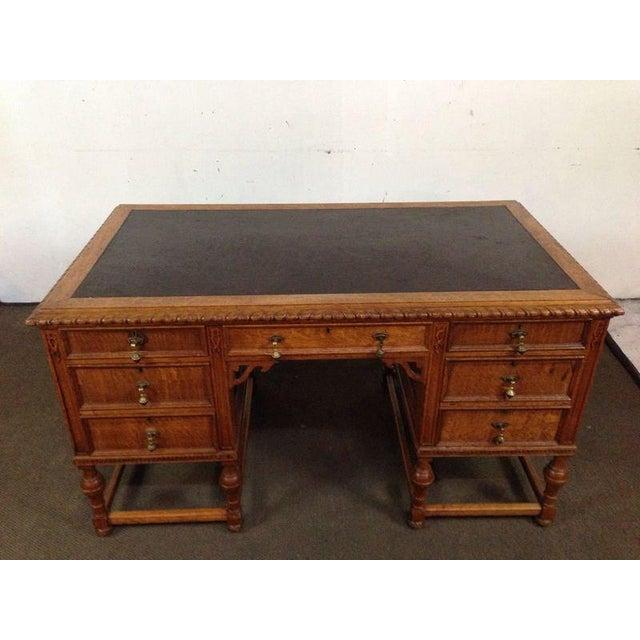 Antique English Tiger Oak Carved Desk - Image 3 of 10