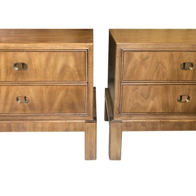 Metal Drexel Maple & Brass Campaign Nightstands - a Pair For Sale - Image 7 of 12