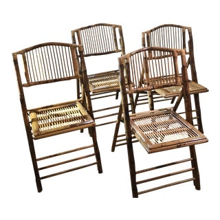 Mid Century Vintage Bamboo and Rattan Folding Chairs- Set of 4 For Sale