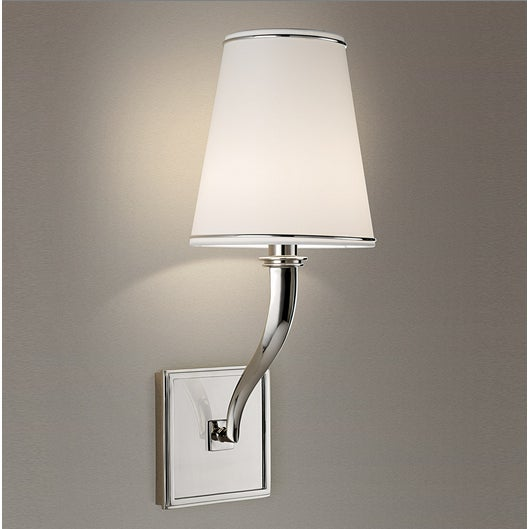 Polished nickel. IP44 rated zone 2 chrome bathroom wall light with shade. Price includes shade. This lights has a...