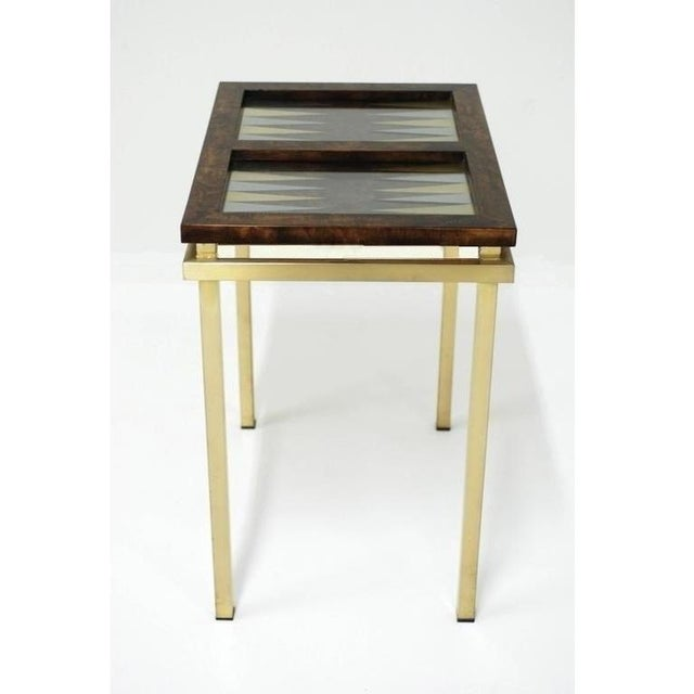 Burl Wood and Brass Backgammon Game Table For Sale In Dallas - Image 6 of 9