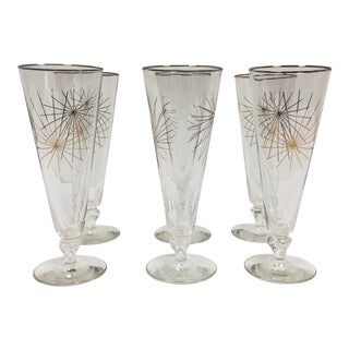 Mid-Century Starburst Campaign High Ball Glasses - Set of 6 For Sale