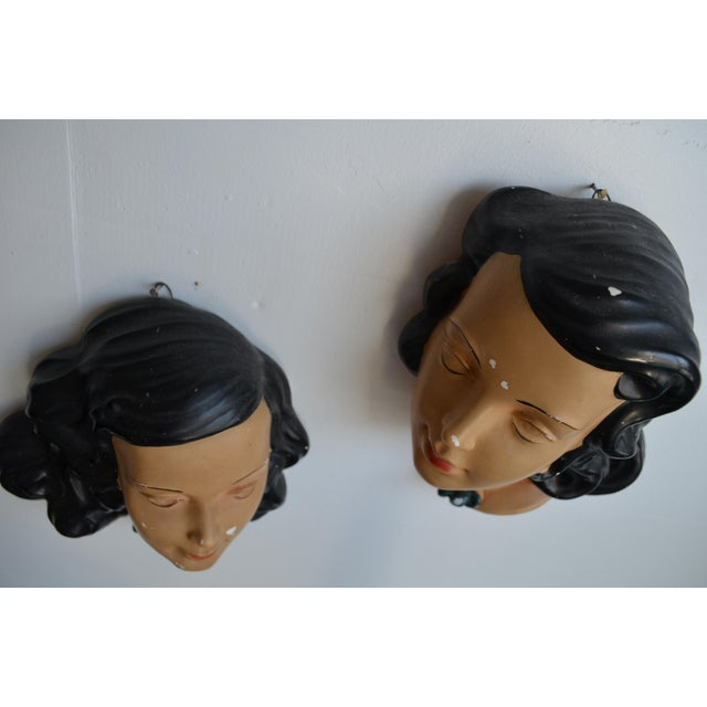 Mid Century Women's Face Masks - a Pair For Sale - Image 9 of 13