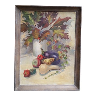 Vintage Fall Still Life Oil on Board Painting For Sale