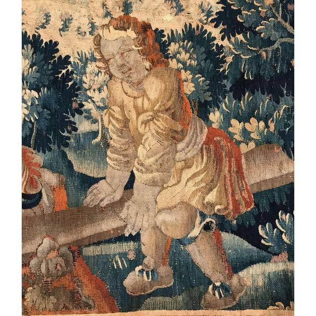 Louis XIV 18th Century French Aubusson Tapestry With Cherubs at Play For Sale - Image 3 of 12