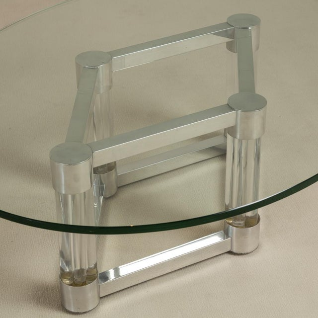 Chunky Lucite and Aluminium Coffee Table 1970s For Sale - Image 4 of 6