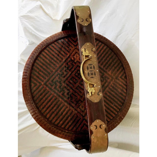 Large Chinese Wedding Basket Rattan & Carved Wood 3 Tiered For Sale In Miami - Image 6 of 11
