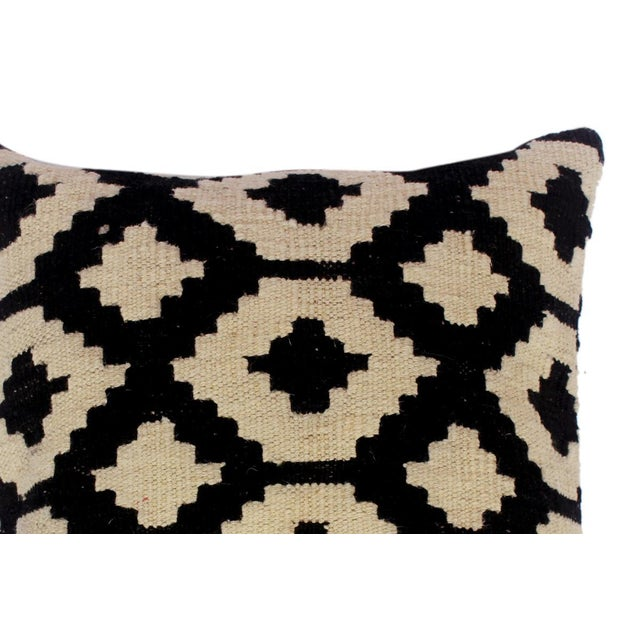 "Desiree Black/Ivory Hand-Woven Kilim Throw Pillow(18""x18"") For Sale - Image 4 of 6"