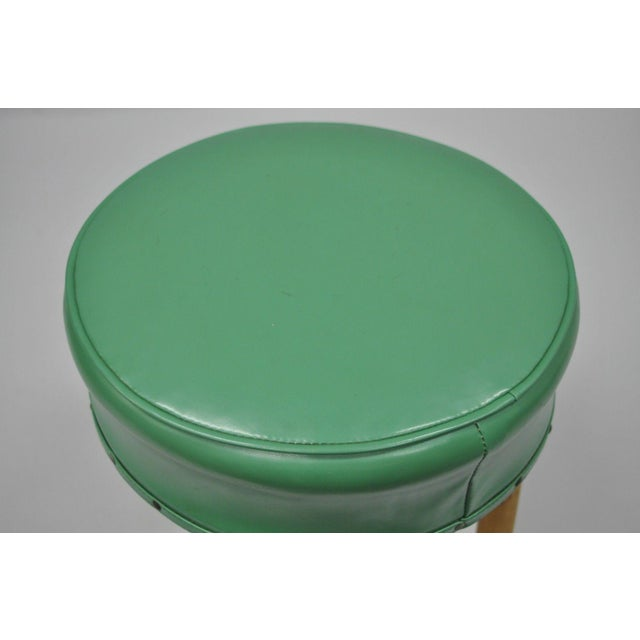 Mid 20th Century Vintage Green Vinyl Bamboo Wood Stool For Sale - Image 5 of 11