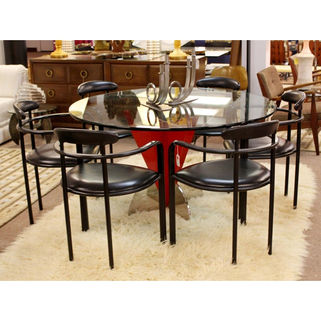 Red Contemporary Modern Memphis Ettore Sotsass Style Red Iron Glass Dining Table For Sale - Image 8 of 9