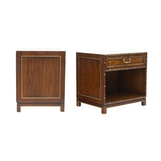 Pair of Faux Bamboo Nightstands by Kindel Furniture For Sale
