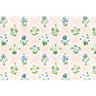 Vintage Bassett McNab Pink Floral Lattice Wallpaper - 10 Yard Roll For Sale