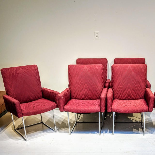 Mid-Century Modern Mid-Century Modern Burgundy Milo Baughman for Thayer Coggin Captain Dining Chairs - Set of 6 For Sale - Image 3 of 6