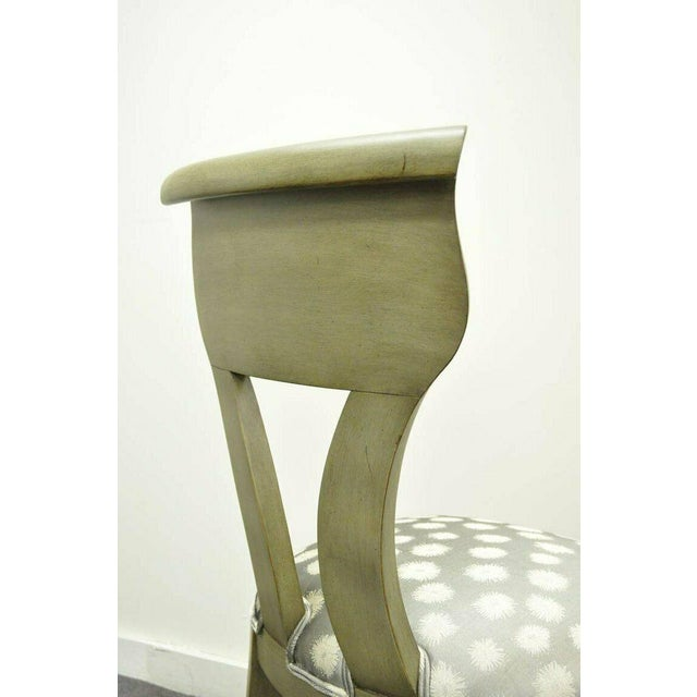 Fabric 1960s Vintage eHollywood Regency Klismos Neoclassical Style Grey Painted Side Chairs- A Pair For Sale - Image 7 of 10