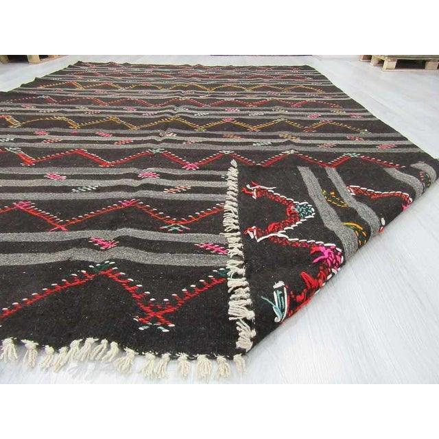 Vintage Embroidered Black & Grey Striped Goat Hair Kilim Rug - 8′3″ × 11′9″ For Sale In Los Angeles - Image 6 of 6
