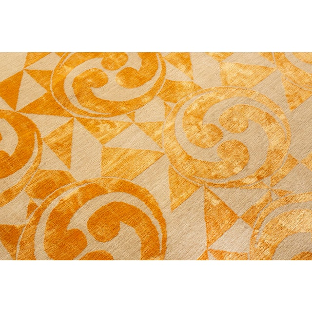 "Contemporary Hand Knotted Golden ""Kaleidoscope"" Rug For Sale In New York - Image 6 of 11"