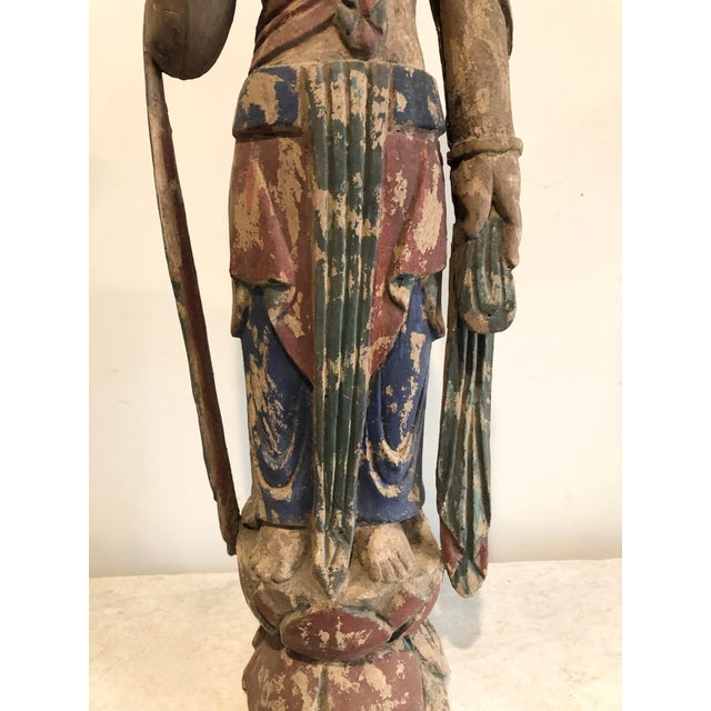 Antique Buddhist Carved Wood Guanyin Figure For Sale - Image 4 of 7