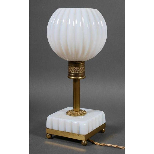 Fine pir of French Opaline aka milk Glass Lamps circa 1880's These were highly sought after in Paris during the 'periode...