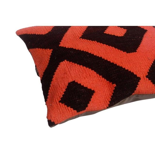 "Diamond Black/Orange Hand-Woven Kilim Throw Pillow(18""x18"") For Sale - Image 4 of 6"