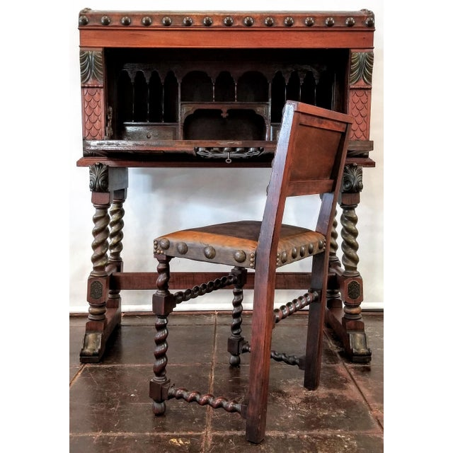 Spanish Colonial Revival Painted Leather and Wood Drop-Front Desk on Stand and Chair For Sale - Image 13 of 13