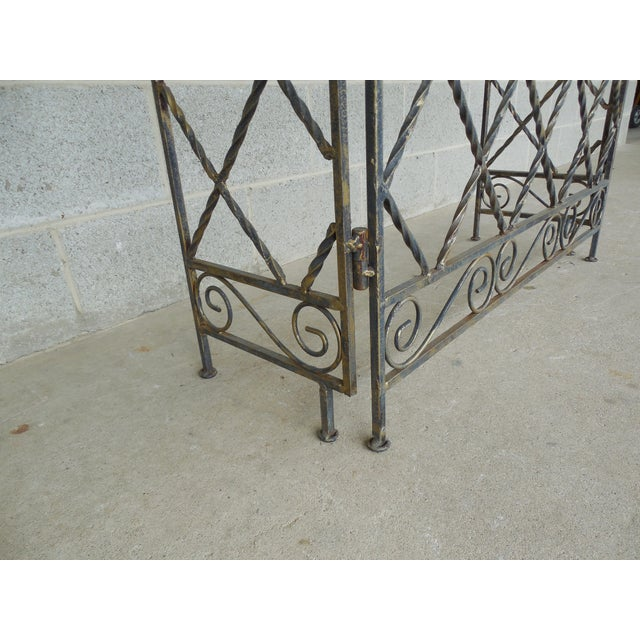 "Designer French Style Heavy Wrought Iron Glass Top Console 35""w X 12""d For Sale - Image 12 of 13"