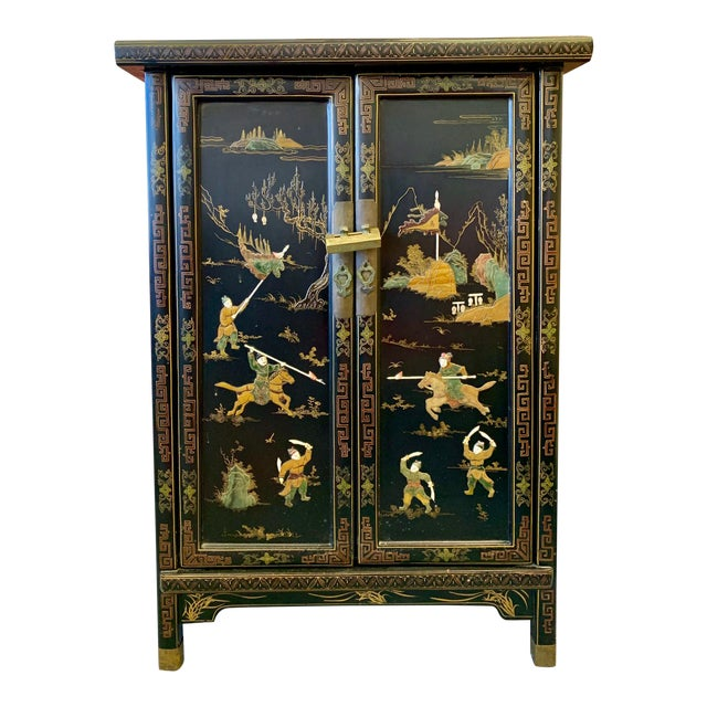 1950's Vintage Black Lacquer Chinoiserie Armoire For Sale