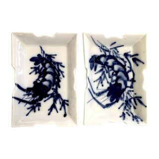 Antique Porcelain Lobster Decorated Trays - Pair For Sale