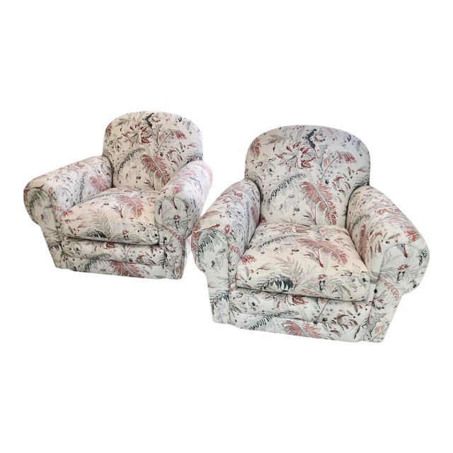 Brunschwig & Fils Jacobean Linen Upholstery Swivel Club Chairs - a Pair For Sale