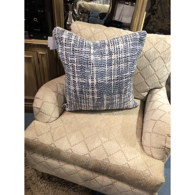 2010s Contemporary Home Navy Blue Textured Square Pillow For Sale - Image 5 of 7