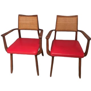 Mid-Century Caned Back Chairs- A Pair For Sale