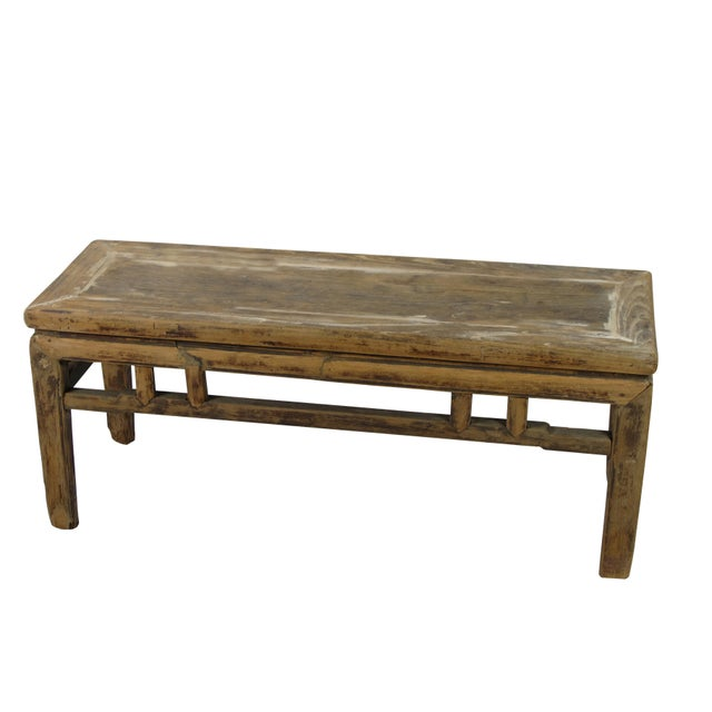 Made of solid elm wood, the color and wood of this rustic vintage bench is exact the same as it was found in Shondong...