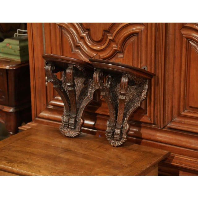 Wood 19th Century French Louis XIV Carved Walnut and Oak Wall Brackets-a Pair For Sale - Image 7 of 7