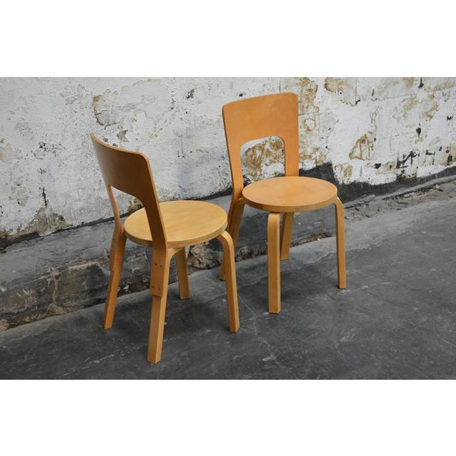 Alvar Aalto Pair of Vintage No. 66 Alvar Aalto Chairs for Artek For Sale - Image 4 of 8
