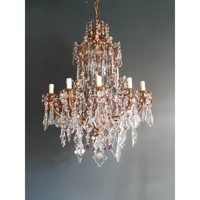 Crystal Chandelier Antique Ceiling Lamp Murano Florentiner Lustre Art Nouveau Purple For Sale - Image 11 of 11