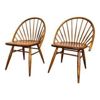Vintage Mid Century Russel Wright for Conant Ball Windsor Style Maple Chairs- A Pair For Sale