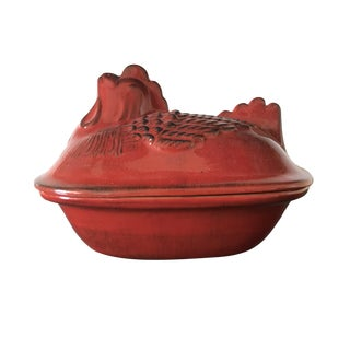 Glazed Terra-Cotta Hen Baking Dish From Italy For Sale