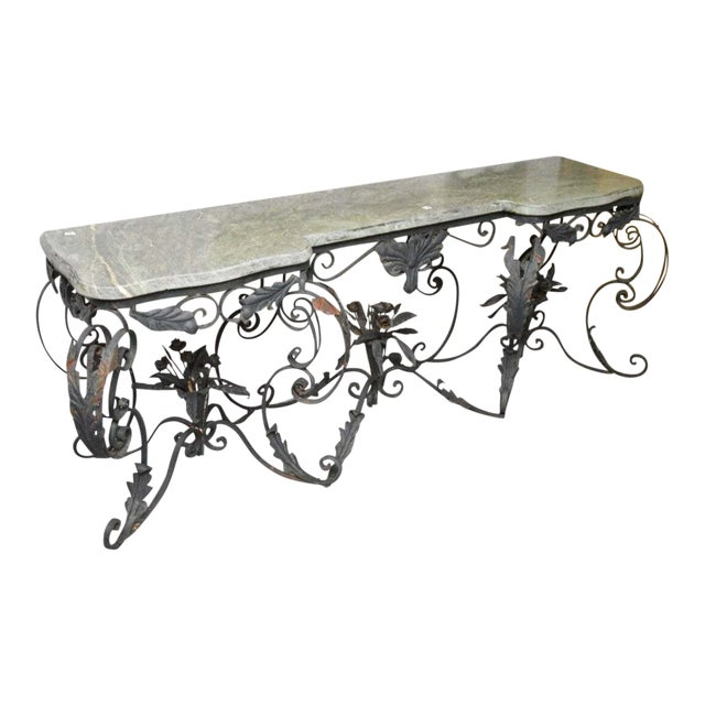 Large Antique French Marble Top Console Table Iron Base For Sale